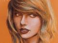 portret taylor swift rysowany pastelami