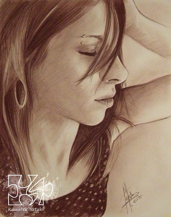 portret narysowany sepią 5