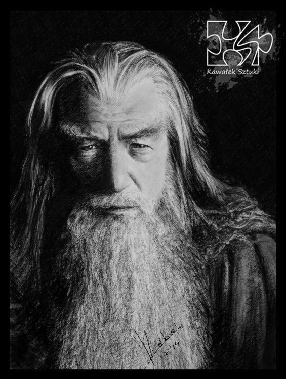 portret gandalf narysowany węglem 4