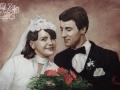 Portret wykonany na zamowienie ślubny para akryl na płótnie malarstwo 50x70