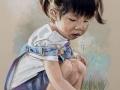 portret na zamówienie pastelami suchymi dziewczynka na łące 65x50