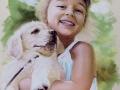portret na zamówienie pastelami suchymi dziewczynka z psem 65x50