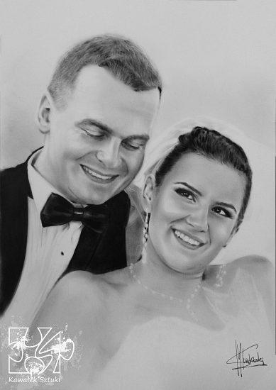 portret ślubny wykonany farbami olejnymi w technice suchego pedzla A2 2