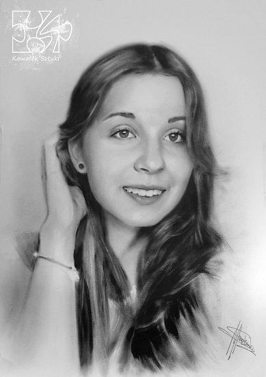portret młodej dziewczyny farbami olejnymi w technice suchego pedzla A3 4