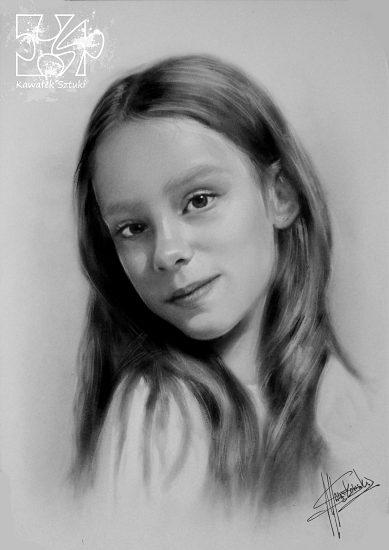 portret młodej dziewczyny wykonany farbami olejnymi w technice suchego pedzla A3 3