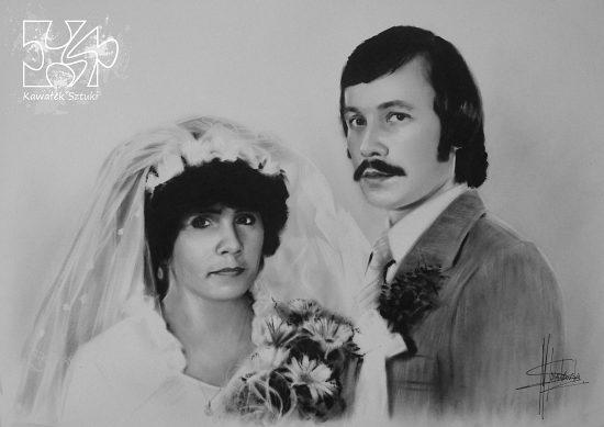 portret ślubny wykonany farbami olejnymi w technice suchego pedzla A3 2