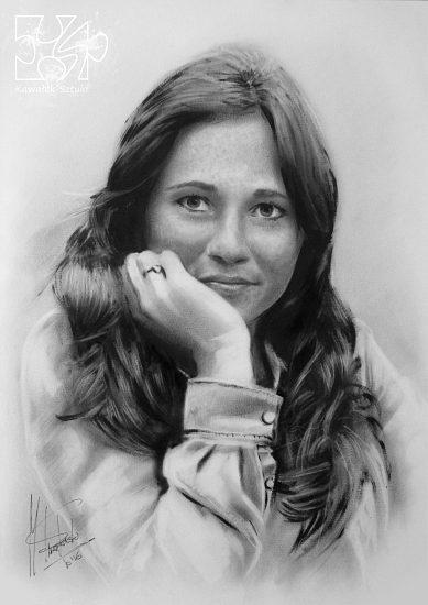 portret dziewczyny farbami olejnymi w technice suchego pedzla A3 3