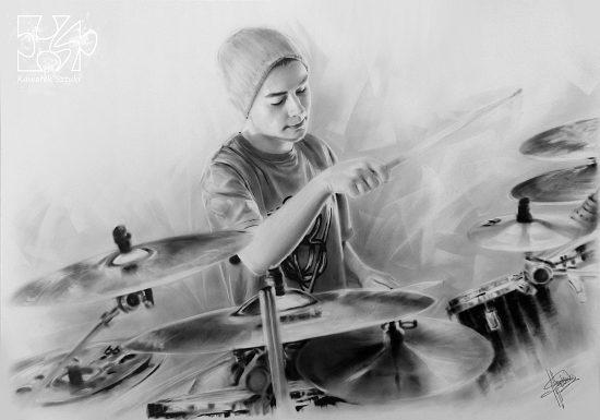 portret perkusisty wykonany farbami olejnymi w technice suchego pedzla B1