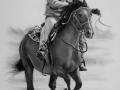 portret jeźdźca na koniu w suchym pędzlu B1