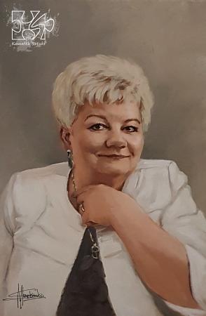 Portret na zamowienie w kolorze akryl na płótnie lnianym kobieta malarstwo 40x60