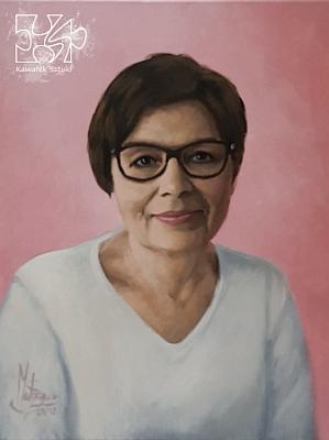 Portret na zamowienie w kolorze akryl na płótnie lnianym kobieta malarstwo