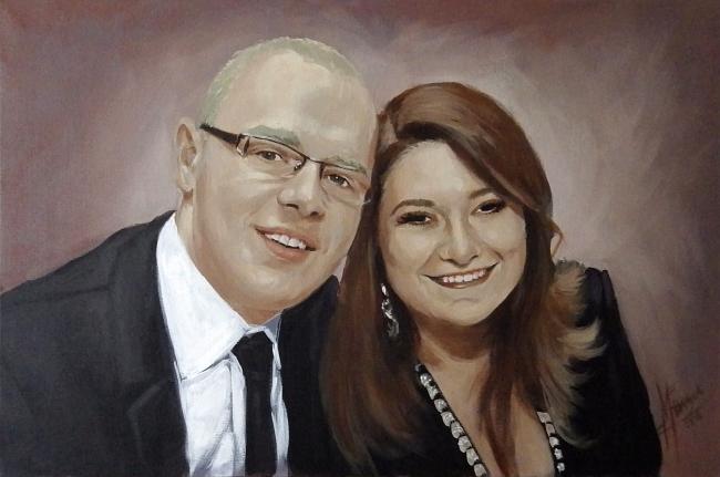 Portret farbami akrylowymi na płótnie malarstwo A2 na zamowienie