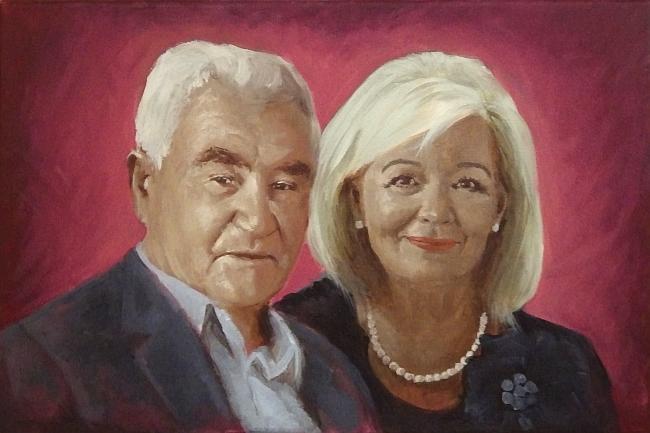 Portret farbami akrylowymi na płótnie malarstwo A2 na zamowienie 2
