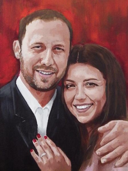 Portret farbami akrylowymi na płótnie malarstwo A3 na zamowienie