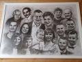 portret rysowany ołówkiem 16 osób rodzinny B1