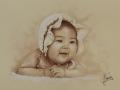 portret chłopczyka dziecka w sepii