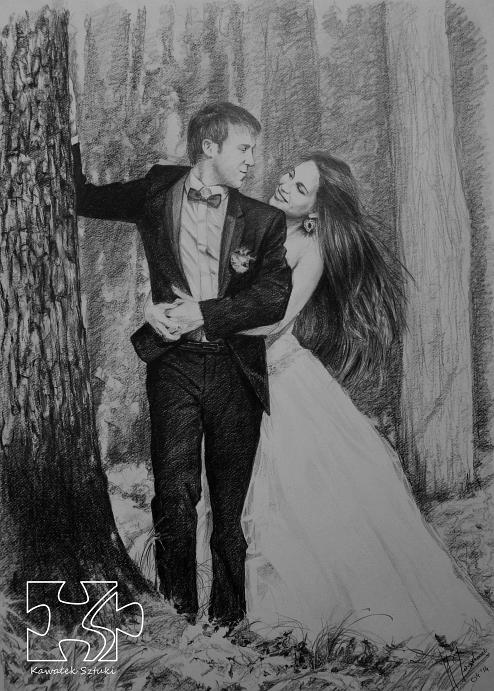 portret na prezent ślubny węglem