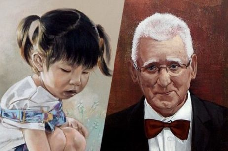 Portrety kolorowe pastelami oraz akrylami na płótnie