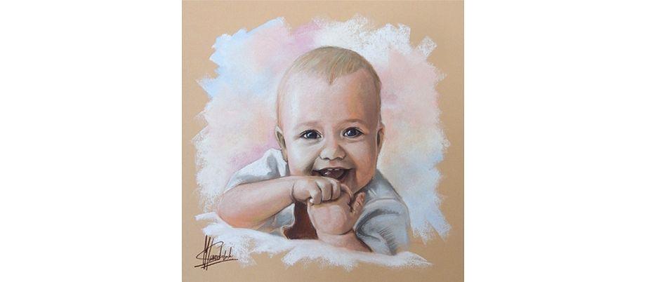 Portret bobasa malowany pastelami suchymi