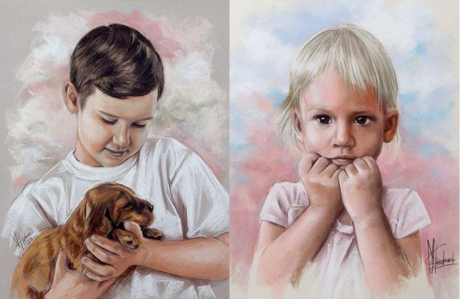 Portrety dzieci malowane pastelami suchymi chłopiec dziewczynka