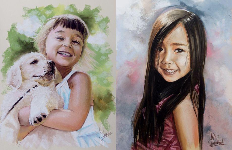 Portrety dziewczynek malowane pastelami suchymi