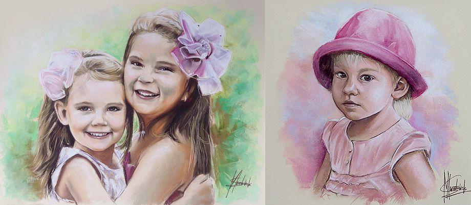Portrety dzieci malowane pastelami suchymi dziewczynka 2