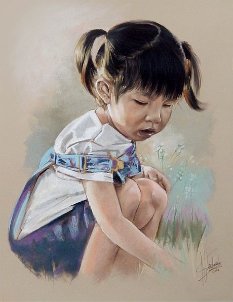 Portret malowany pastelami suchymi dziewczynka na łące