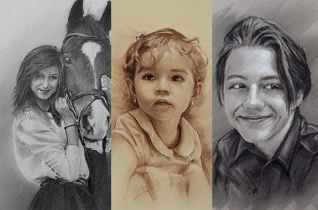 Portrety w graficie, sepii i węglu