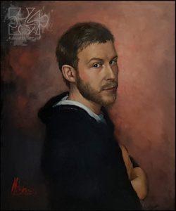 portret artysty namalowany farbami olejnymi